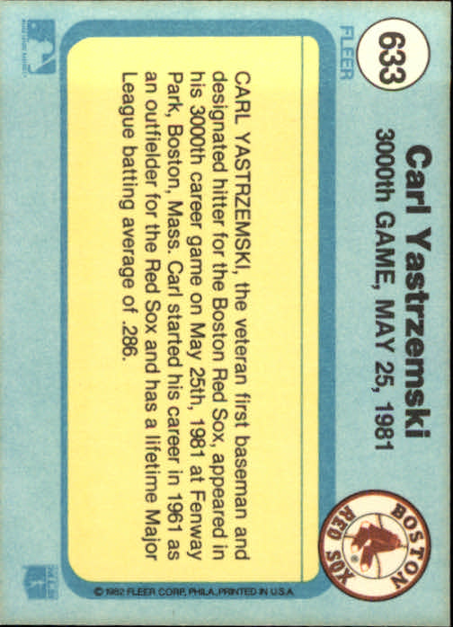 1982 Fleer #633 Carl Yastrzemski/3000th Game back image