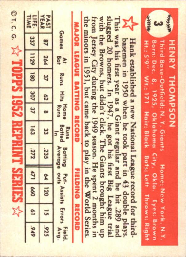 1983 Topps 1952 Reprint #3 Hank Thompson back image