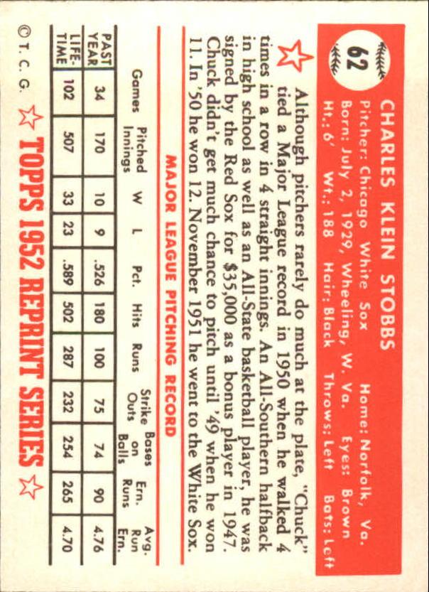 1983 Topps 1952 Reprint #62 Chuck Stobbs back image