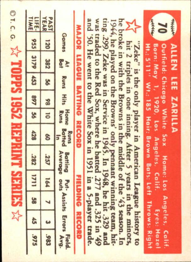 1983 Topps 1952 Reprint #70 Al Zarilla back image