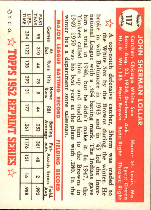 1983 Topps 1952 Reprint #117 Sherm Lollar back image