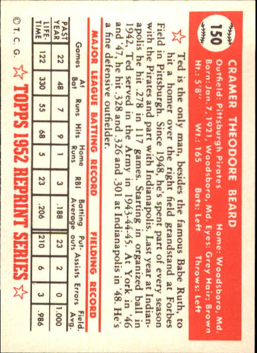 1983-Topps-1952-Reprint-BB-Card-039-s-1-250-You-Pick-Buy-10-cards-FREE-SHIP thumbnail 254