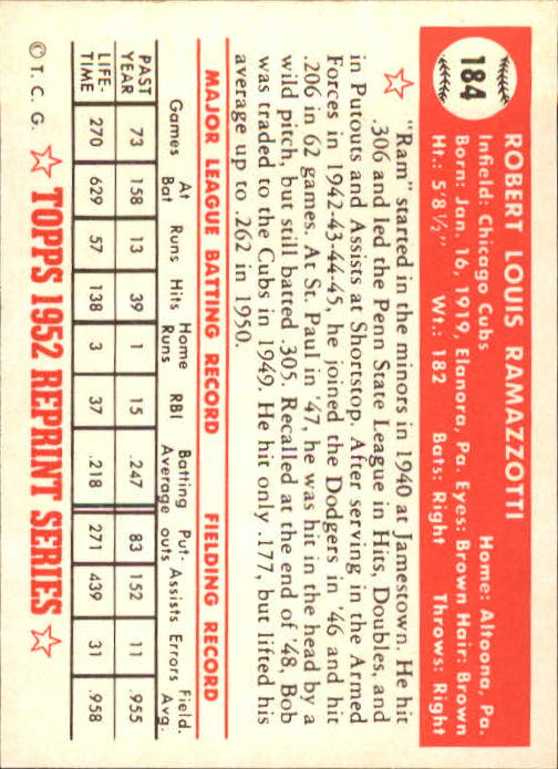 1983-Topps-1952-Reprint-BB-Card-039-s-1-250-You-Pick-Buy-10-cards-FREE-SHIP thumbnail 312