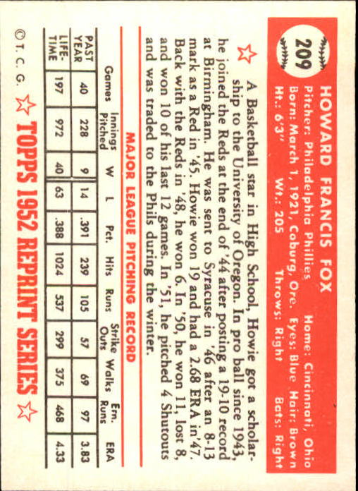 1983 Topps 1952 Reprint #209 Howie Fox back image