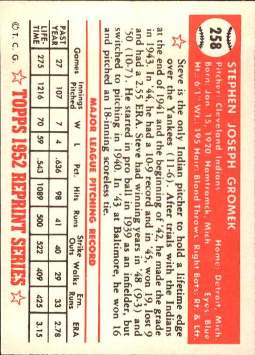 1983 Topps 1952 Reprint #258 Steve Gromek back image