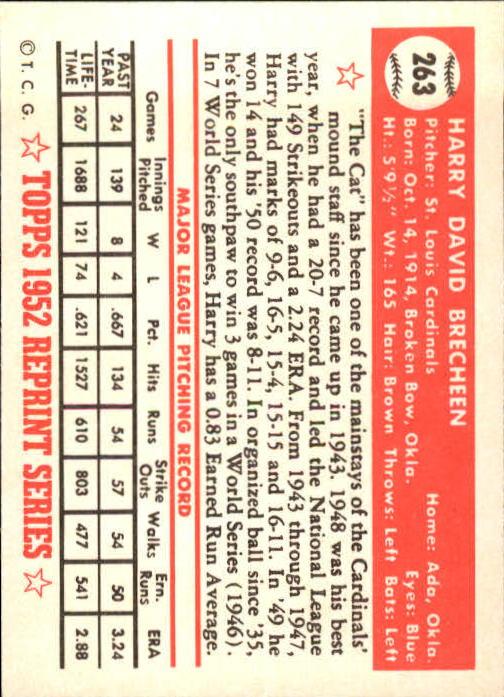 1983 Topps 1952 Reprint #263 Harry Brecheen back image