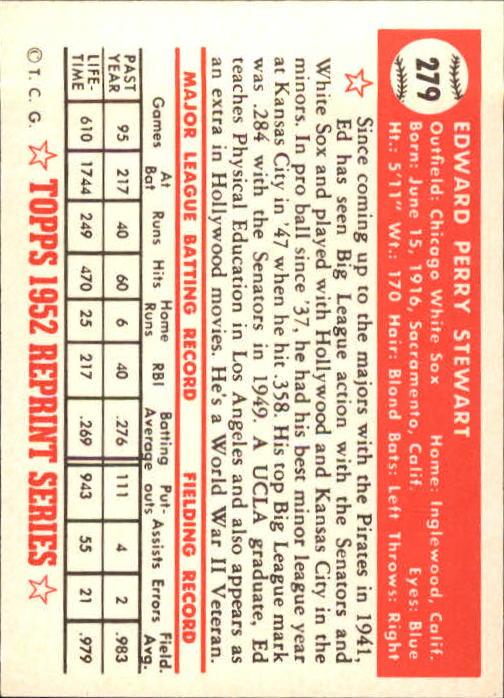 1983 Topps 1952 Reprint #279 Eddie Stewart back image