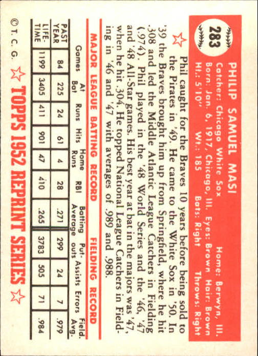1983 Topps 1952 Reprint #283 Phil Masi back image