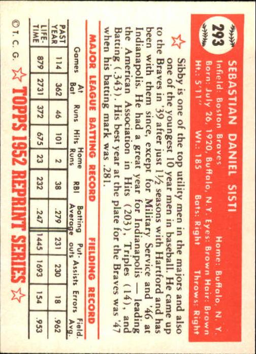 1983 Topps 1952 Reprint #293 Sibby Sisti back image