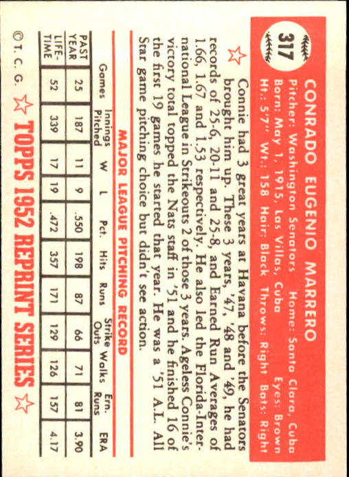 1983 Topps 1952 Reprint #317 Conrado Marrero back image