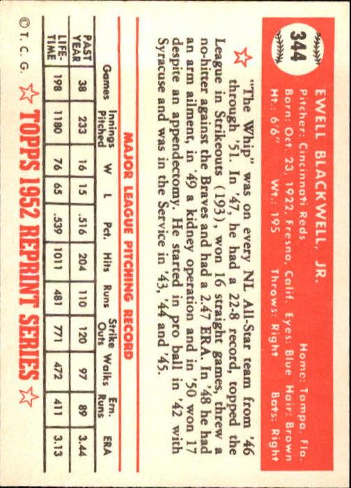 1983 Topps 1952 Reprint #344 Ewell Blackwell back image