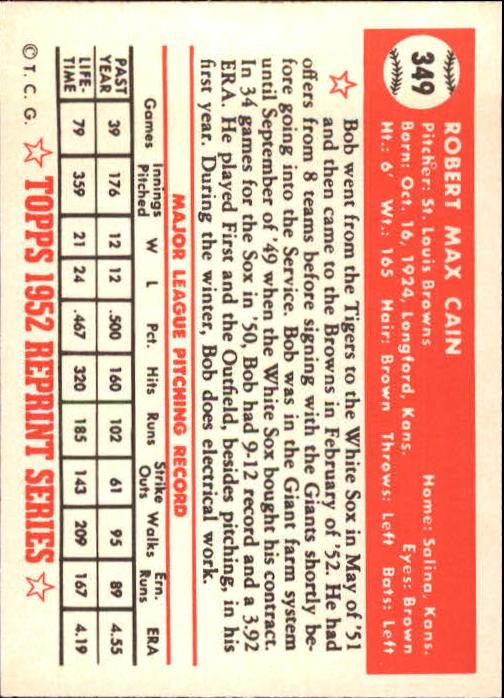 1983 Topps 1952 Reprint #349 Bob Cain back image
