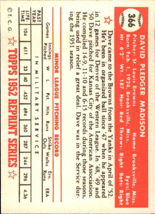 1983 Topps 1952 Reprint #366 Dave Madison back image