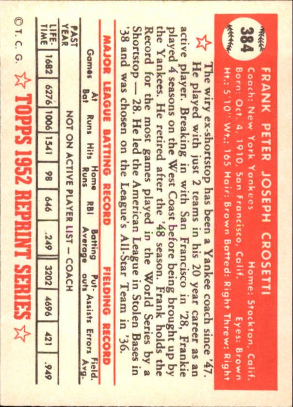 1983 Topps 1952 Reprint #384 Frank Crosetti CO back image