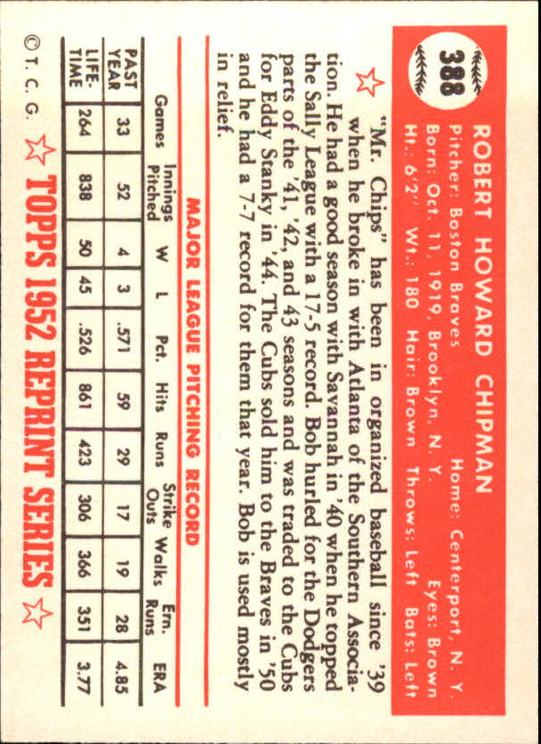 1983 Topps 1952 Reprint #388 Bob Chipman back image