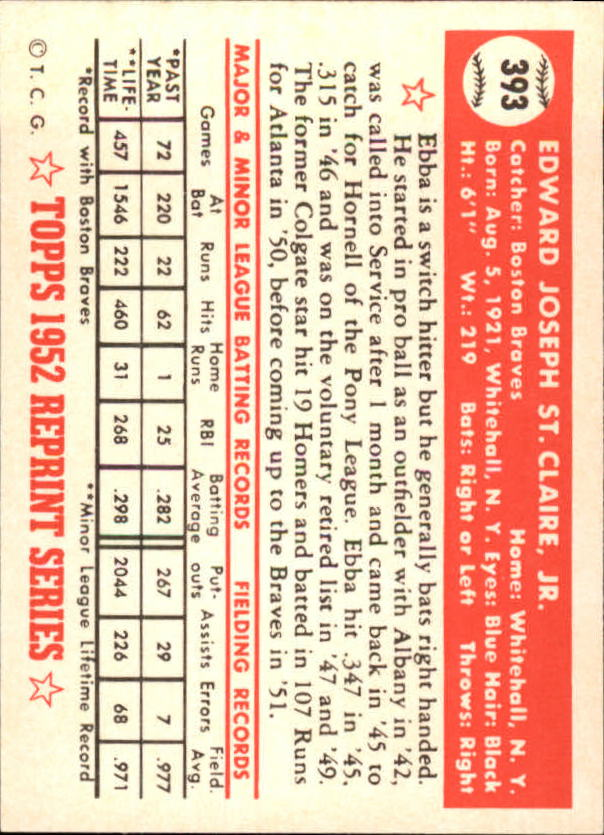 1983 Topps 1952 Reprint #393 Ebba St.Claire back image