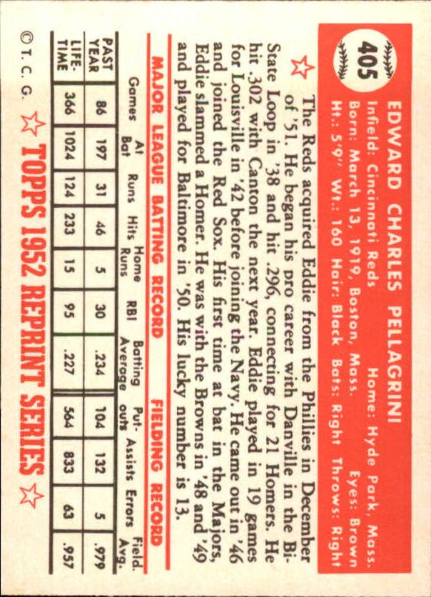 1983 Topps 1952 Reprint #405 Eddie Pellagrini back image