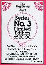 1983 ASA Yogi Berra #1 Yogi Berra AU back image