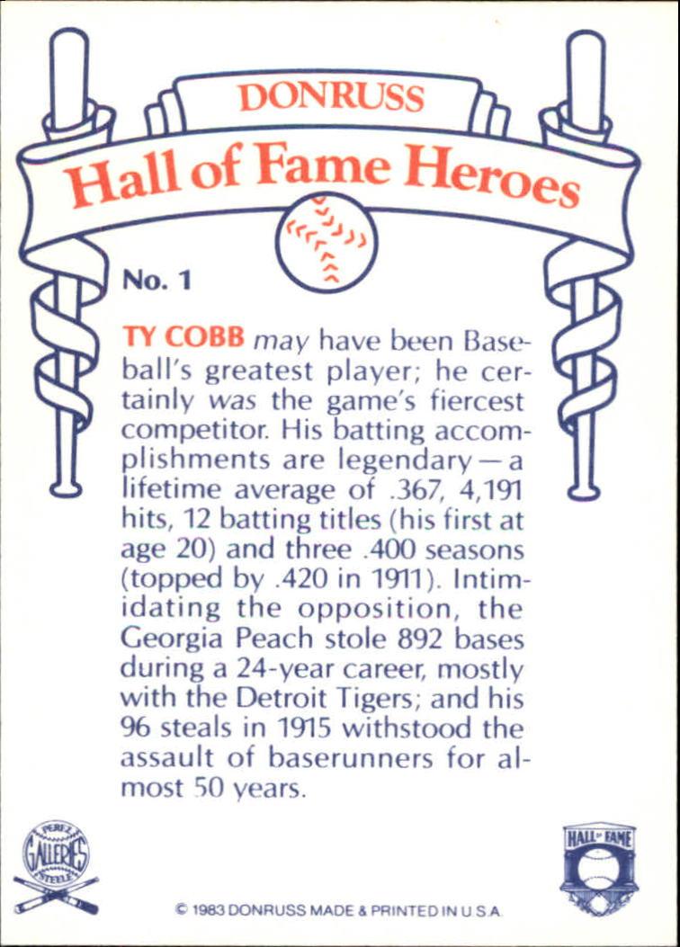 1983 Donruss HOF Heroes #1 Ty Cobb back image