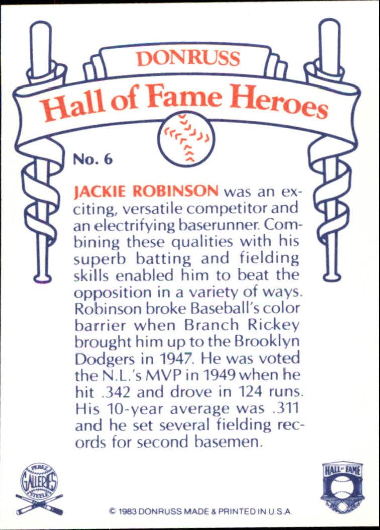 1983 Donruss HOF Heroes #6 Jackie Robinson back image