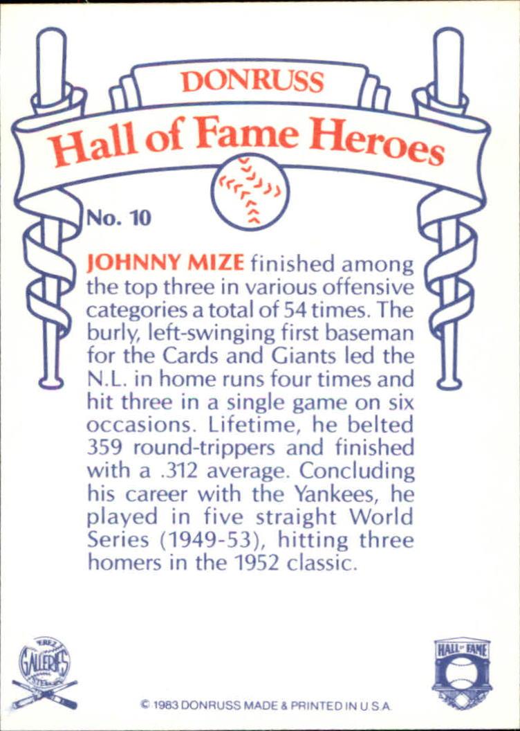 1983 Donruss HOF Heroes #10 Johnny Mize back image