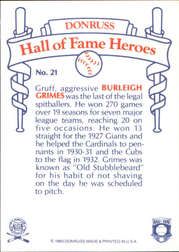 1983 Donruss HOF Heroes #21 Burleigh Grimes back image