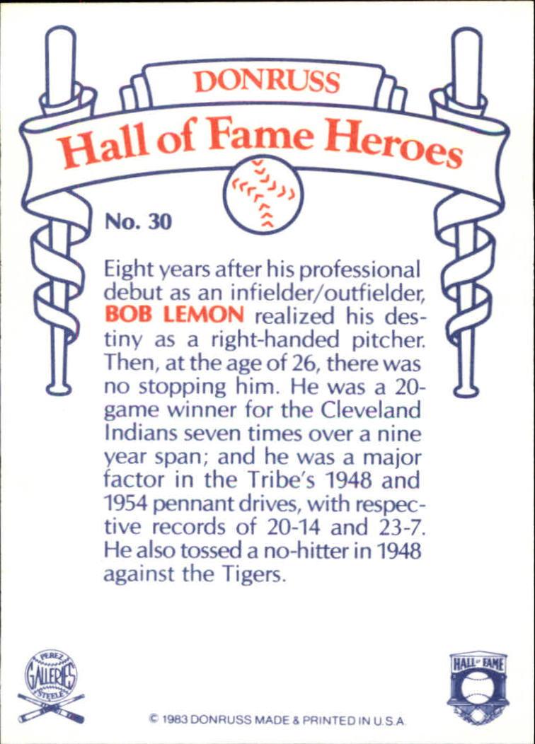 1983 Donruss HOF Heroes #30 Bob Lemon back image