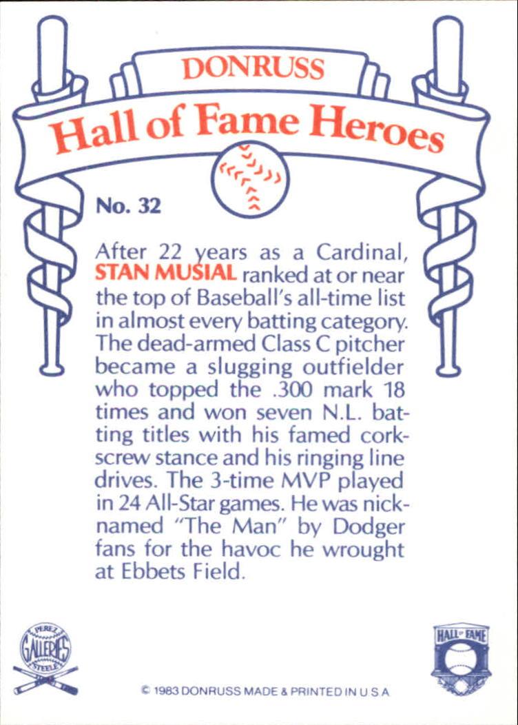 1983 Donruss HOF Heroes #32 Stan Musial back image