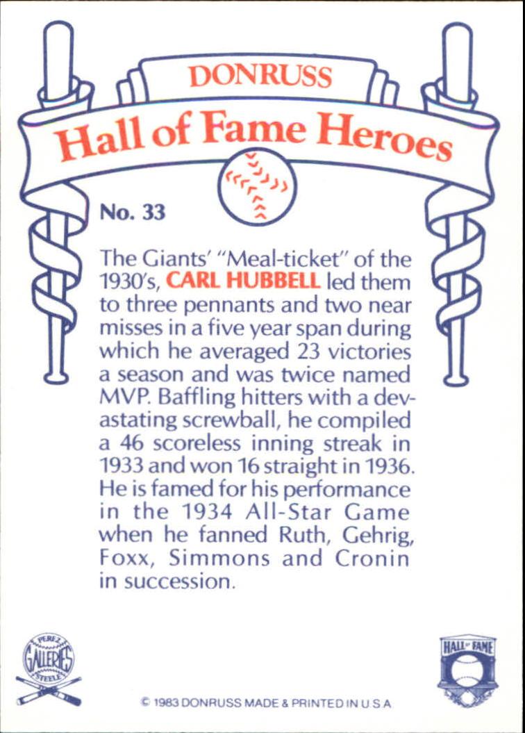 1983 Donruss HOF Heroes #33 Carl Hubbell back image