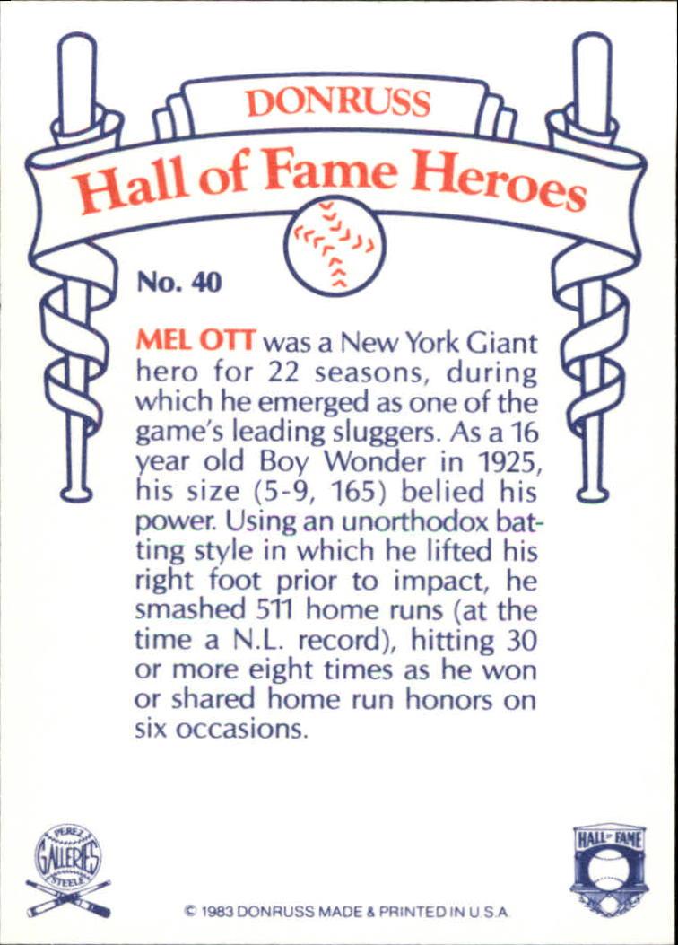 1983 Donruss HOF Heroes #40 Mel Ott back image