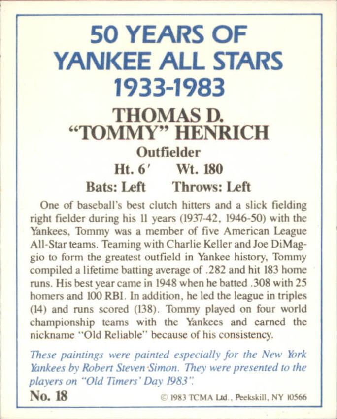 1983 Yankees A-S Fifty Years #18 Tommy Henrich back image