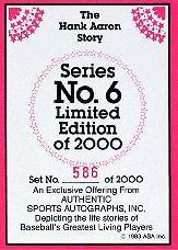 1983 ASA Hank Aaron #1 Hank Aaron AU back image