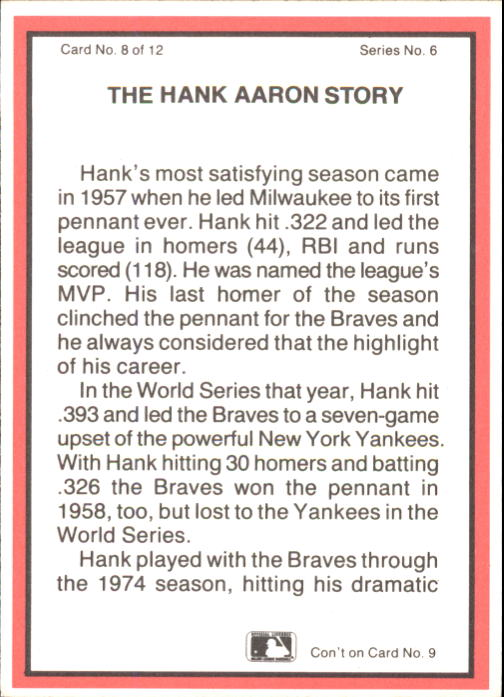 1983 ASA Hank Aaron #8 Hank Aaron/1969 Braves back image