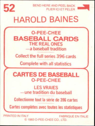1983 O-Pee-Chee Stickers #52 Harold Baines back image
