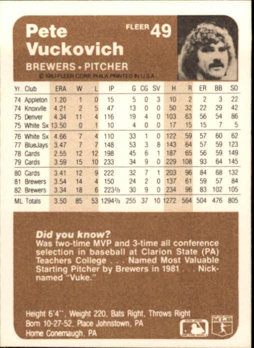 1983 Fleer #49 Pete Vuckovich back image