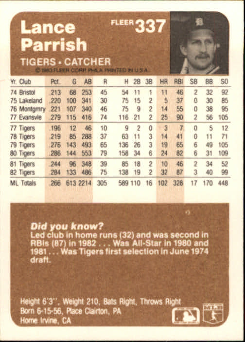 1983 Fleer #337 Lance Parrish back image