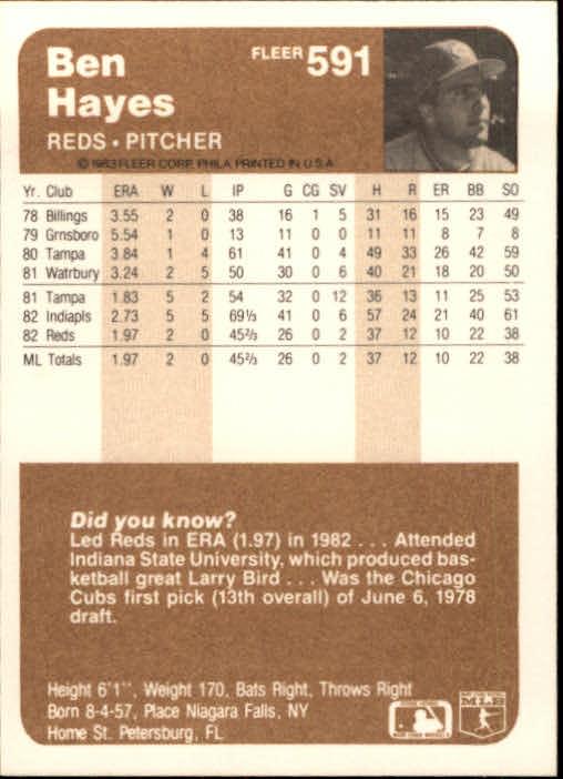 1983 Fleer #591 Ben Hayes back image