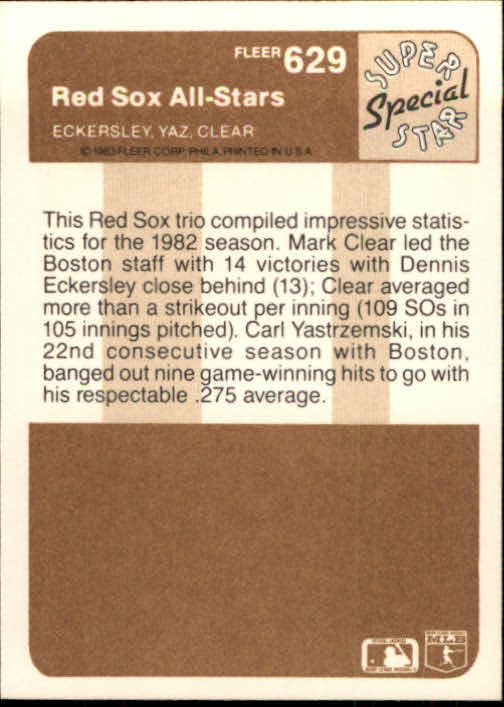1983 Fleer #629 Carl Yastrzemski/Dennis Eckersley/Mark Clear back image