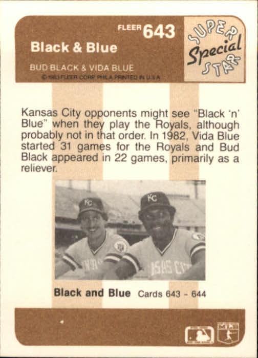 1983 Fleer #643 Black and Blue/Vida Blue back image