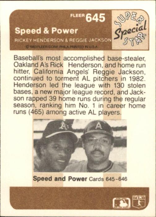 1983 Fleer #645 Reggie Jackson Power back image