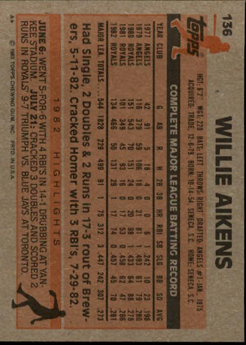 1983 Topps #136 Willie Aikens back image