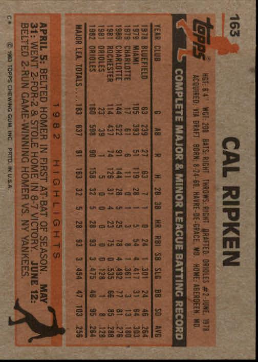 1983 Topps #163 Cal Ripken back image