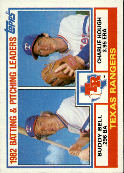 1983 Topps #412 Rangers TL/BA: Buddy Bell/ERA: Charlie Hough/(C