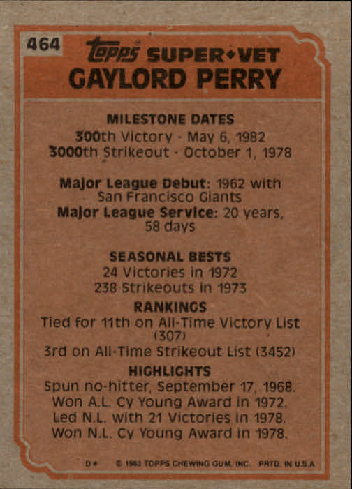 1983 Topps #464 Gaylord Perry SV back image