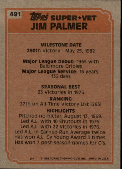 1983 Topps #491 Jim Palmer SV back image