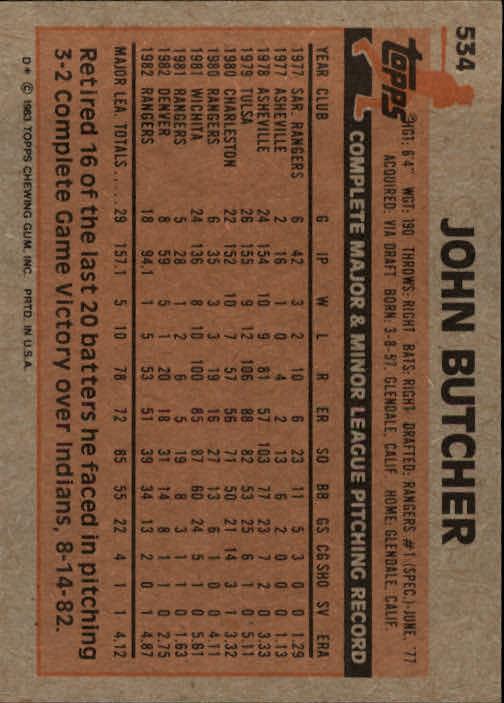 1983 Topps #534 John Butcher back image