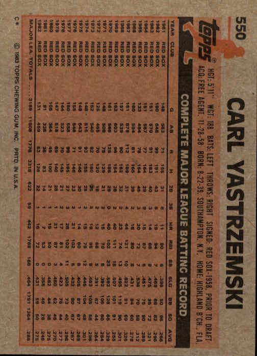 1983 Topps #550 Carl Yastrzemski back image