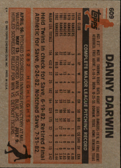 1983 Topps #609 Danny Darwin back image