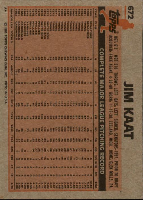 1983 Topps #672 Jim Kaat back image