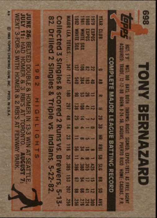 1983 Topps #698 Tony Bernazard back image